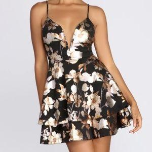 Windsor Black & MetallicFloral Skater Dress